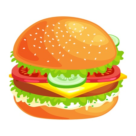 tasty burger grilled beef and fresh vegetables dressed with sauce in bun for snack or lunch, hamburger classical american fast food meal usual menu could be barbecue meat bread tomato cheese on white