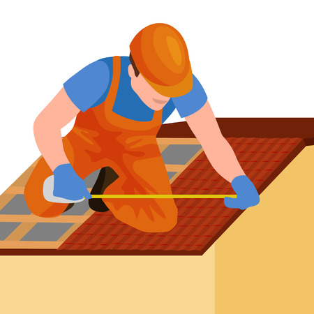 Dach Bauarbeiter Reparatur nach Hause, baut Struktur Befestigung der Dachfliese Haus mit Arbeitsausrüstung, Dachdecker Männer mit Arbeitsgeräte in den Händen im Freien Renovierung Wohn Vektor-Illustration
