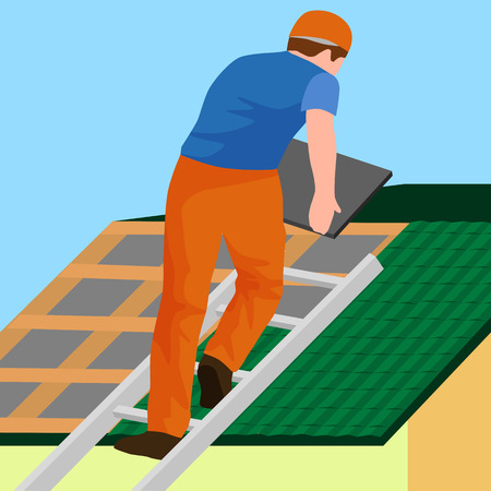 roof shingles: roof construction worker repair home, build structure fixing rooftop tile house with labor equipment, roofer men with work tools in hands outdoors renovation residential vector illustration