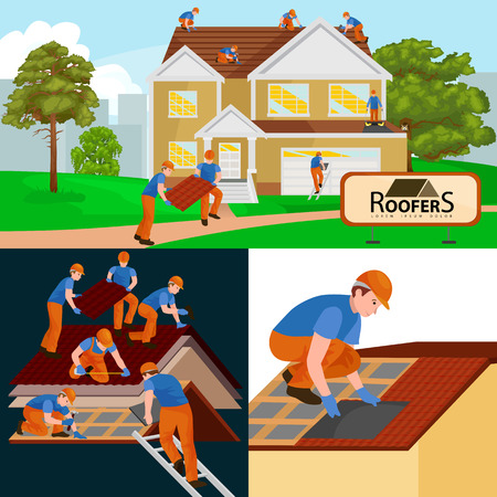 build in: roof construction worker repair home, build structure fixing rooftop tile house with labor equipment, roofer men with work tools in hands outdoors renovation residential vector illustration