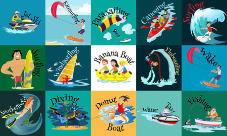 diving board: Set of water extreme sports icons, isolated design elements for summer vacation activity fun concept, cartoon wave surfing, sea beach vector illustration, active lifestyle adventure