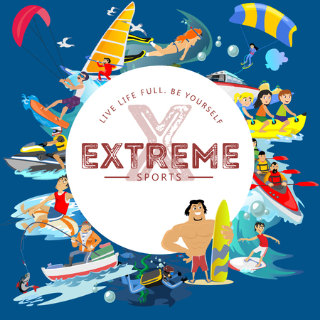 Set of water extreme sports icons, isolated design elements for summer vacation activity fun concept, cartoon wave surfing, sea beach vector illustration, active lifestyle adventure. Illustration