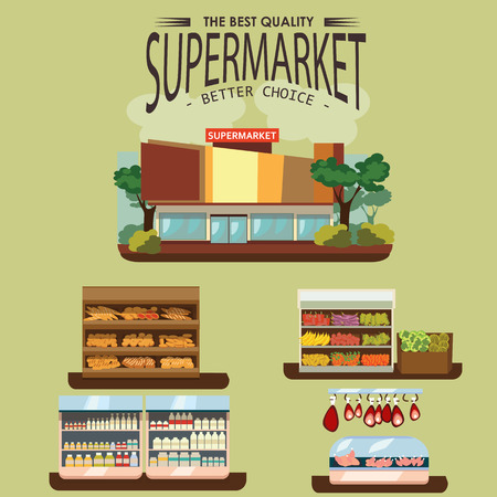aisle: Set of supermarket departments, fruit and milk food store, grocery row with vegetable products on shelves in market, bread bakery shop interior vector illustration, meat and sausage in refrigerator.
