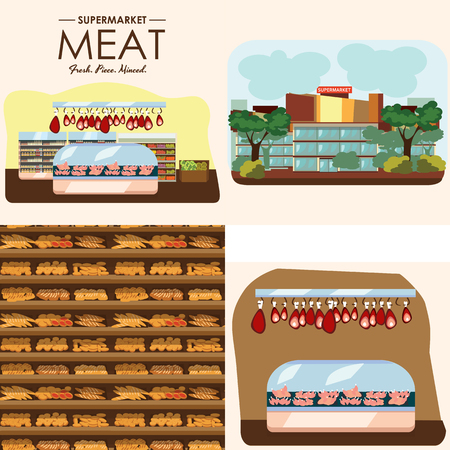 refrigerator: set of supermarket departments, fruit and milk food store, grocery row with vegetable products on shelfs in market, bread bakery shop interior vector illustration, meat and sausage in refrigerator.