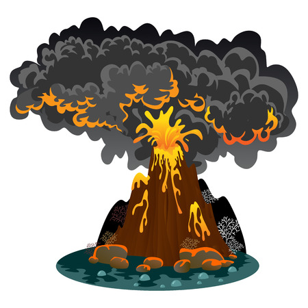 Awakening of dangerous vulcan, salute from magma ashes and smoke fly out from volcano, lava flowing down the mountain vector illustration Illustration