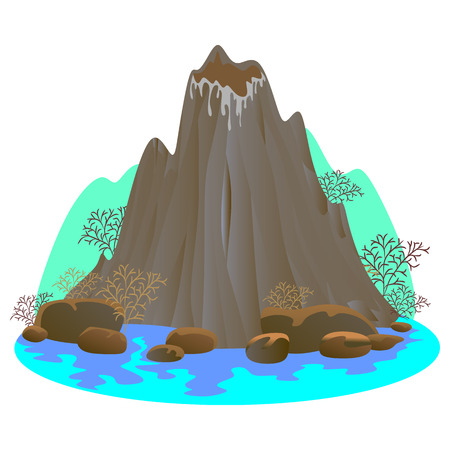 Sleeping volcano mountain vector illustration