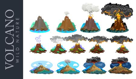 varying: A set of volcanoes of varying degrees of eruption, a sleeping or awakening dangerous vulcan. Illustration
