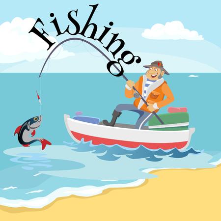 De vlakke vissershoed zit ter beschikking op boot met in de hand trolling hengel en vangt emmer, Fishman gehaakte rotatie in het overzees wachtende grote vissen grappige vectorillustratie, Concept van de Mensen het actieve banner.