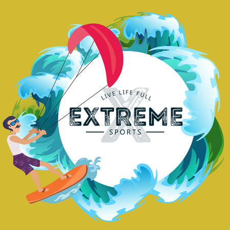 kitesurfing water extreme sports, isolated design element for summer vacation activity concept, cartoon wave surfing, sea beach vector illustration, active lifestyle adventure. Illustration