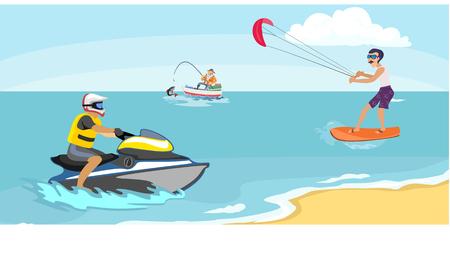 Jet ski water sports extrêmes, élément de conception isolé pour le concept d'activité de vacances d'été, wave wave de bande dessinée, illustration vectorielle de plage de mer, aventure active de style de vie