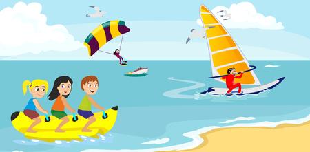 banana łódź wody sportów ekstremalnych, izolowane element projektu na wakacjach pojęcie działalności, fala surfing kreskówki, morze plaży ilustracji wektorowych, aktywny styl życia przygody
