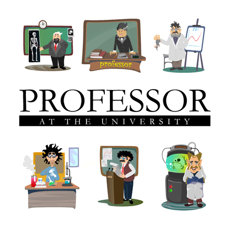 Professor near the blackboard with formulas at university lecture, teacher in class at lesson teaches students, higher education in the college, school vector illustration