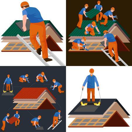 屋根建設労働者修復家、ビルド構造屋外改修住宅ベクトル図の手で作業工具の屋根葺き職人男性労働装備屋上タイルの家を修正
