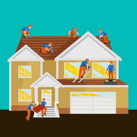 Roofer mannen met werkgereedschap in handen, outdoor residentiële renovatie vector illustratie
