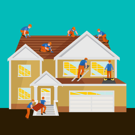 roof shingles: Roofer men with work tools in hands, outdoor residential renovation vector illustration