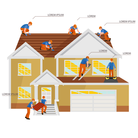 Roofer men with work tools in hands, outdoor residential renovation vector illustration