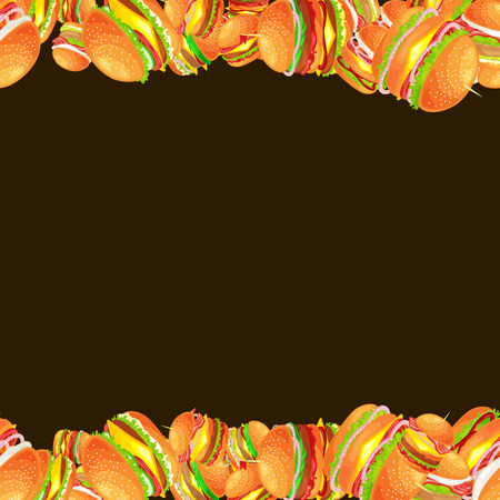 Frame made from tasty burger grilled beef and fresh vegetables dressed with sauce bun for snack vector illustration background