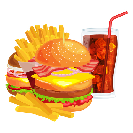 sesame: American hamburger with french fries and cold soda brown ice drink vector illustration