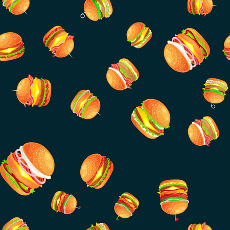 American hamburger fast food meal menu barbecue meat vector illustration background