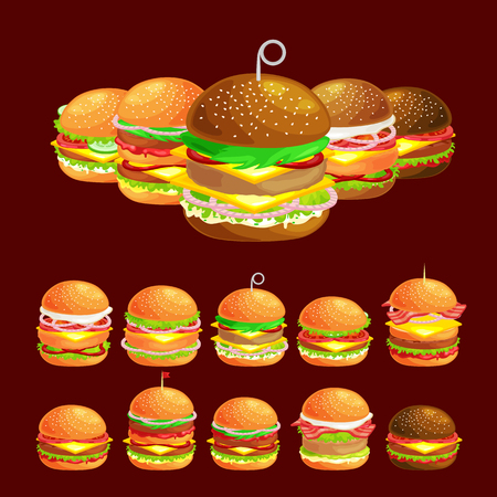 Set of tasty burger grilled beef and fresh vegetables dressed with sauce in bun for snack or lunch, hamburger is classical american fast food meal usual menu could be barbecue meat bread tomato cheese