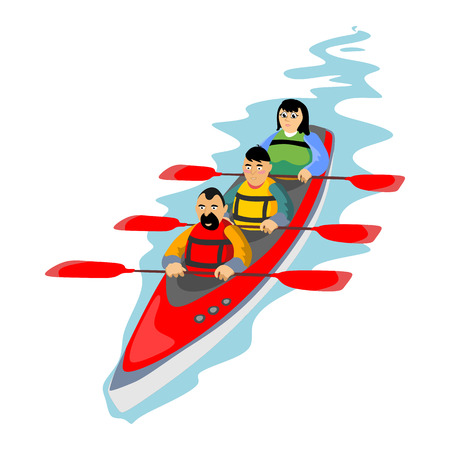 Canoeing water extreme sports, isolated design element for summer vacation activity concept, cartoon wave surfing, sea beach vector illustration, active lifestyle adventure Illustration