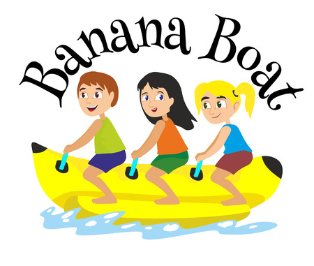 banana boat water extreme sports, isolated design element for summer vacation activity concept, cartoon wave surfing, sea beach vector illustration, active lifestyle adventure Illustration