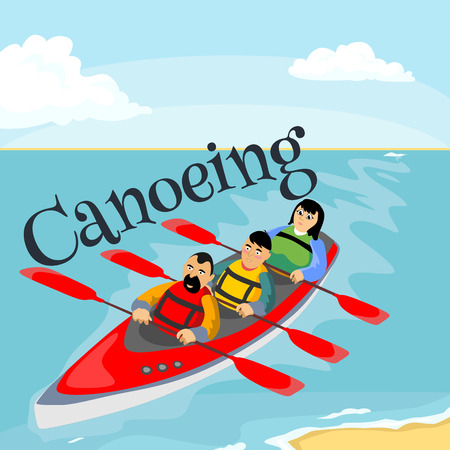 Canoeing water extreme sports, isolated design element for summer vacation activity concept, cartoon wave surfing, sea beach vector illustration, active lifestyle adventure Ilustrace