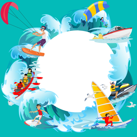 diving board: Set of water extreme sports icons, isolated design elements for summer vacation activity fun concept, cartoon wave surfing, sea beach vector illustration, active lifestyle adventure. Illustration
