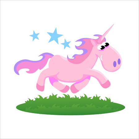 cute unicorn isolated set, magic pegasus flying with wing and horn on rainbow, fantasy horse vector illustration, myth creature dreaming on white background Illustration