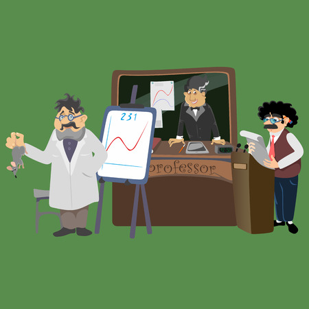 Professor near the blackboard with formulas at university lecture, teacher in class at lesson teaches students, higher education in the college, school vector illustration Illustration