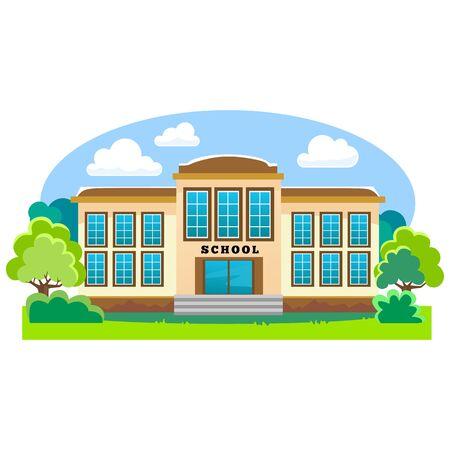 modern school buildings exterior, student city concept, elementary school facade urban street background, icon vector illustration