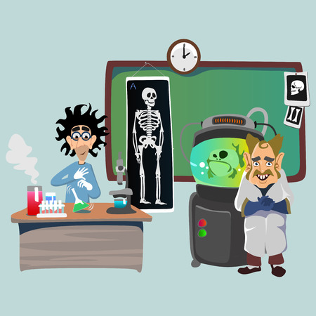 teaches: Professor near the blackboard with formulas at university lecture, teacher in class at lesson teaches students, higher education in the college, school vector illustration Illustration