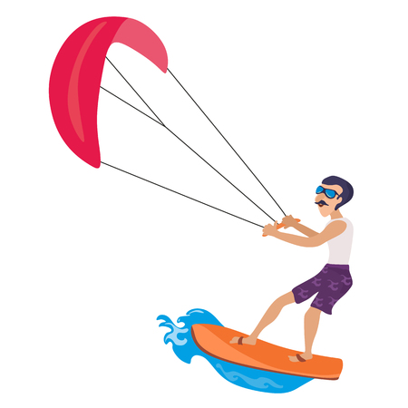 kitesurfing water extreme sports, isolated design element for summer vacation activity concept, cartoon wave surfing, sea beach vector illustration, active lifestyle adventure