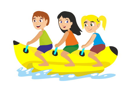 banana boat water extreme sports, isolated design element for summer vacation activity concept, cartoon wave surfing, sea beach vector illustration, active lifestyle adventure Ilustracja