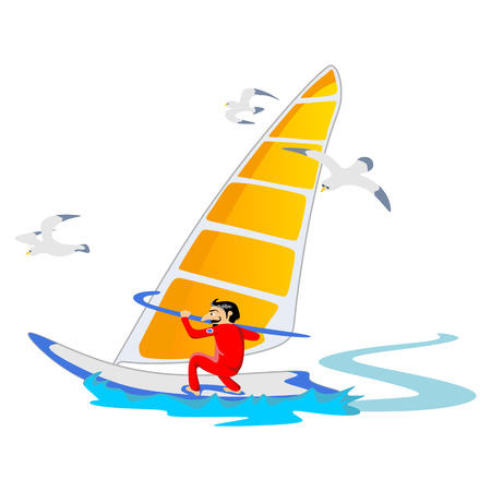 Windsurfing water extreme sports, isolated design element for summer vacation activity concept, cartoon wave surfing, sea beach vector illustration, active lifestyle adventure Illustration