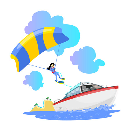 Parasailing water extreme sports backgrounds, isolated design elements for summer vacation activity fun concept, cartoon wave surfing, sea beach vector illustration, active lifestyle adventure Illustration