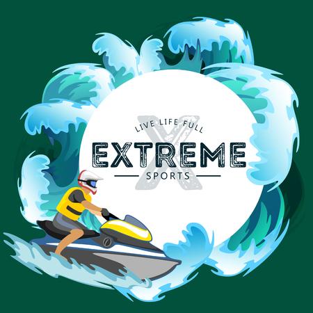 Jet Ski Wasser Extremsportarten, isolierte Gestaltungselement für Sommerurlaub Aktivität Konzept, Cartoon Wave Surfen, Meer Strand Vektor-Illustration, aktive Lifestyle-Abenteuer