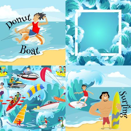 windsurf: Conjunto de fondos de deportes extremos de agua, elementos de diseño aislado para las vacaciones de verano concepto de diversión actividad, olas de dibujos animados olas, mar playa ilustración vectorial, estilo de vida activo de aventura Vectores