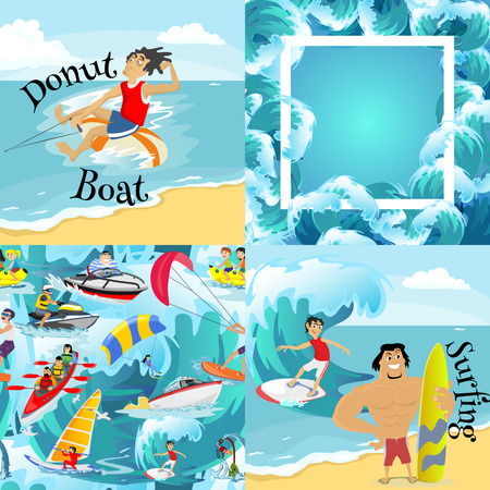 Set of water extreme sports backgrounds, isolated design elements for summer vacation activity fun concept, cartoon wave surfing, sea beach vector illustration, active lifestyle adventure Illustration