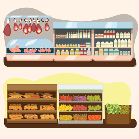 set of supermarket departments, fruit and milk food store, grocery row with vegetable products on shelfs in market, bread bakery shop interior vector illustration, meat and sausage in refrigerator