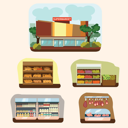 supermarket: Shop building cartoon set with mini store symbols isolated vector illustration