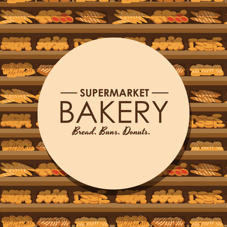 bakery products: bakery shelf with bread in supermarket, big choice of fresh products sale in food shop interior, store vector illustration Illustration