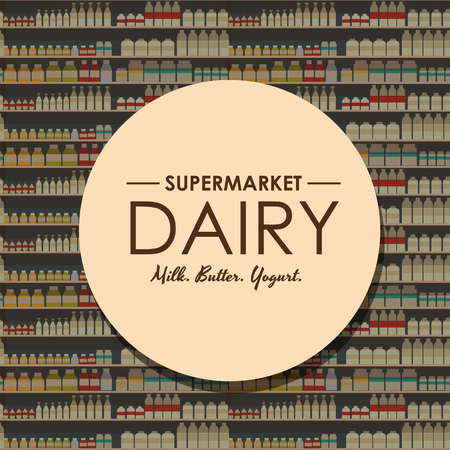 supermarket: dairy department, milk shelf with fresh healthy food in supermarket, big choice of organic farm products sale in food shop interior, store with yogurt and cheese vector illustration