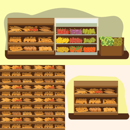 supermarket: bakery shelf with bread in supermarket, big choice of fresh products sale in food shop interior, store vector illustration Illustration