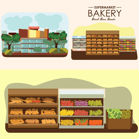 set of supermarket departments, fruit food store, grocery row with vegetable products on shelfs in market, bread bakery shop interior vector illustration Ilustracja
