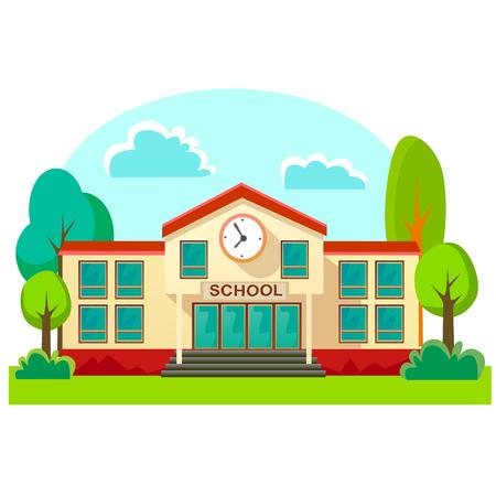 De moderne buitenkant van schoolgebouwen, het concept van de studentenstad, achtergrond van de de voorgevel de stedelijke straat van de basisschool, pictogrammen geplaatst vectorillustratie. Vector Illustratie
