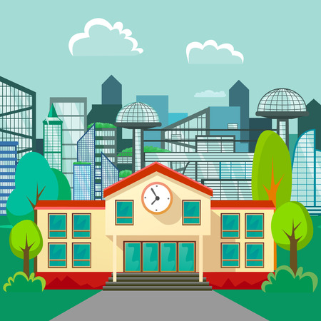 Modern school buildings exterior, student city concept, elementary school facade urban street background, icons set vector illustration. Illustration