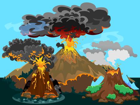 Een reeks vulkanen van verschillende uitbarstingen, een slapende of ontwakende gevaarlijke vulcan, groeten uit magma as en rook die uit de vulkaan vliegen Stock Illustratie