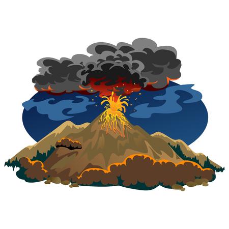 Een reeks vulkanen van uiteenlopende mate van uitbarsting. Stock Illustratie