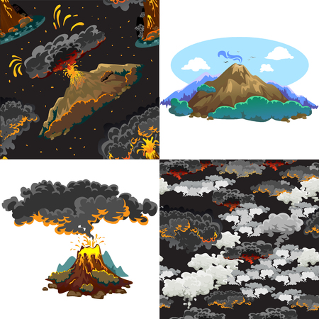 A set of volcanoes of varying degrees of eruption.